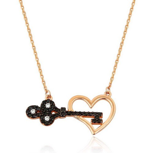 Kalbimin Anahtarı Gümüş Kolye - 18 Ayar Rose Altın Rengi Kaplama