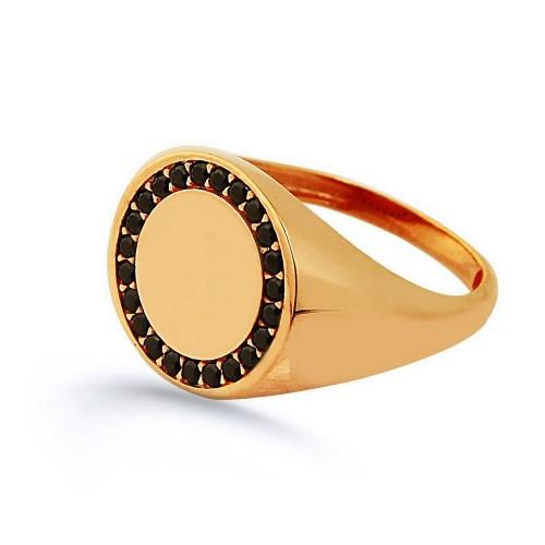 Yuvarlak Siyah Zirkon Taşlı  Signed Ring