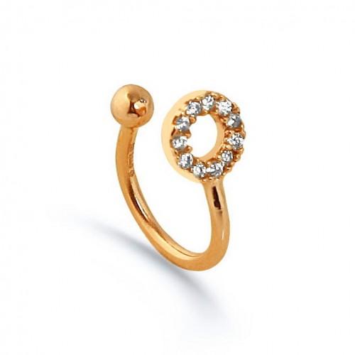 """Taşlı Yuvarlak Modeli Rose Altın Renkli Yeni Trend  """"Ear Cuff """"Küpe"""