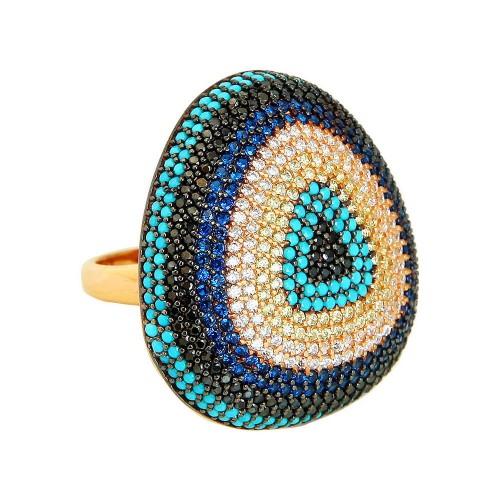 Multi-Color Pave Mıhlamalı Nazarlık Gümüş Yüzük