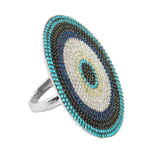 Multi-Color Pave Mıhlamalı Gümüş Yüzük