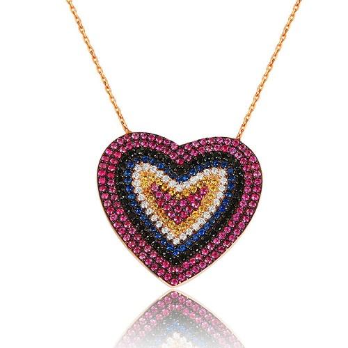 Multi-Color Pave Mıhlamalı Kalp Gümüş Kolye