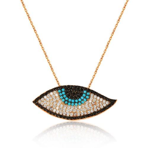 Multi Color Pave Mıhlamalı Nazarlık Figürlü Gümüş Kolye