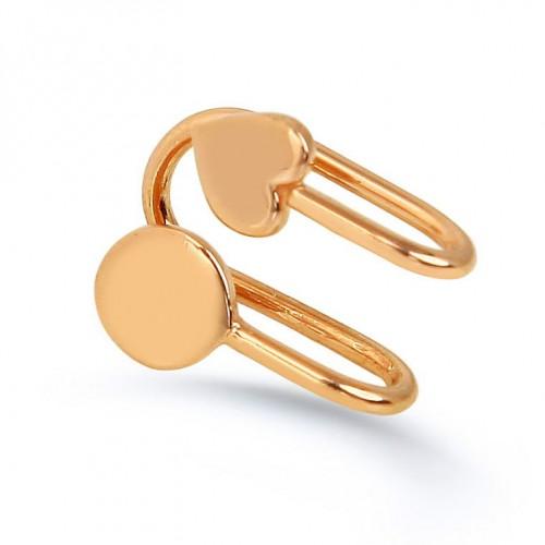 """Kalp ve Yuvarlak Modelli Rose Altın Renkli Yeni Trend  """"Ear Cuff """"Küpe"""