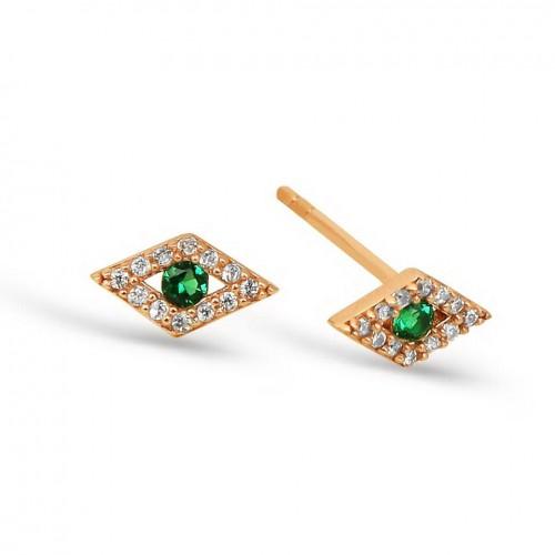 Yeşil Göz Figürlü Gümüş Küpe