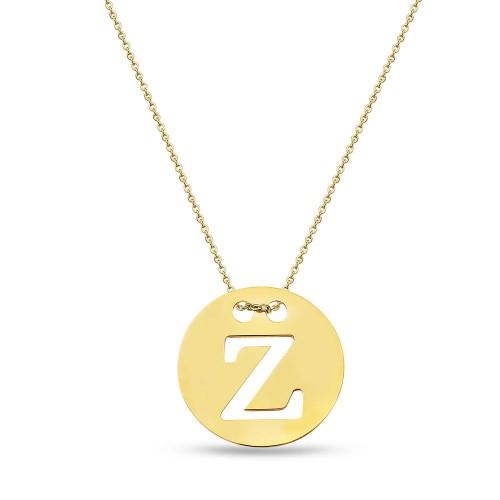 2.2 cm Madalyon  Harf Kolye -Gold